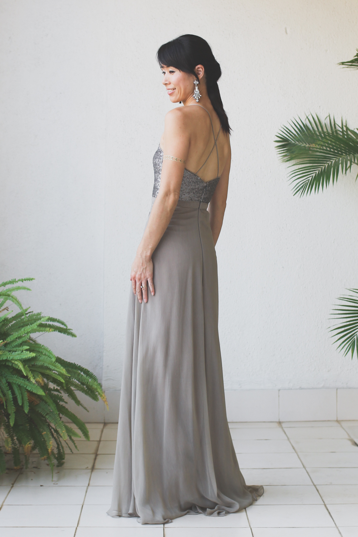 Micky Tan Grey Sequin Chiffon Dress-8