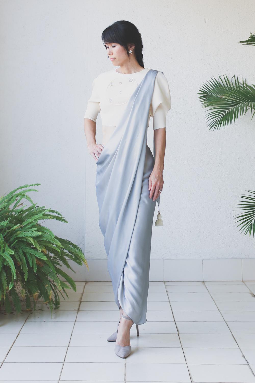Micky Tan Cream Grey Sari Dress-2