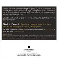 Shangri-la Flash Your Age Birthday Promo - Singapore