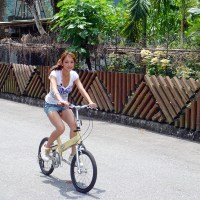 Girl with dick exposed on her bicycle ride