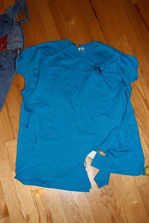 old t-shirt for skirt ruffle