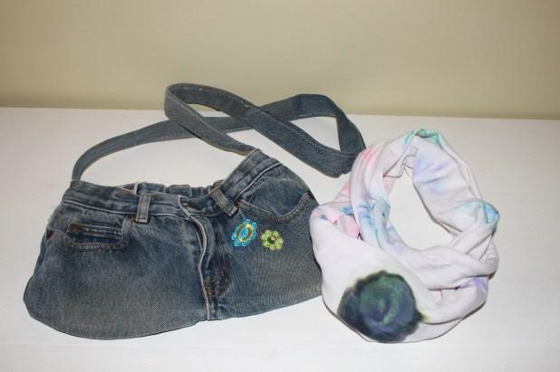 denim purse and scarf