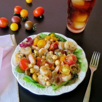 Shrimp Chickpea and Tomato Salad