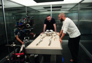 "(L-r) Alex Garland and Oscar Isaac on set of A24 Films' ""Ex Machina"""