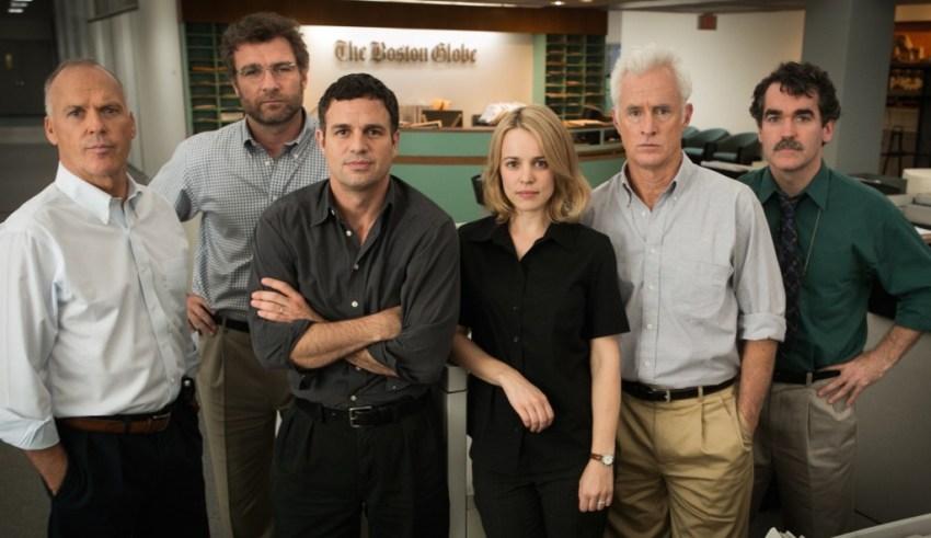 "(L-r) Michael Keaton, Liev Schrieber, Mark Ruffalo, Rachel McAdams, Brian D'Arcy James and Billy Crudup star in Open Raod Films' ""Spotlight"""