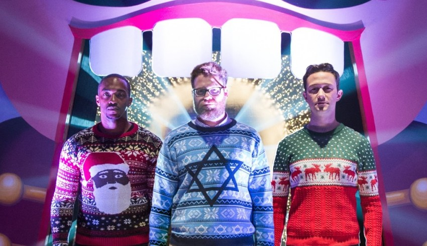 """(L-r) Anthony Mackie, Seth Rogan and Joseph Gordon-Levitt star in Sony Pictures' """"The Night Before"""""""