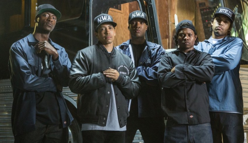 """(L-r) Aldis Hodge, Neil Brown, Jr., Corey Hawkins, Jason Mitchell and O'Shea Jackson, Jr. star in Universal Pictures' """"Straight Outta Compton"""""""