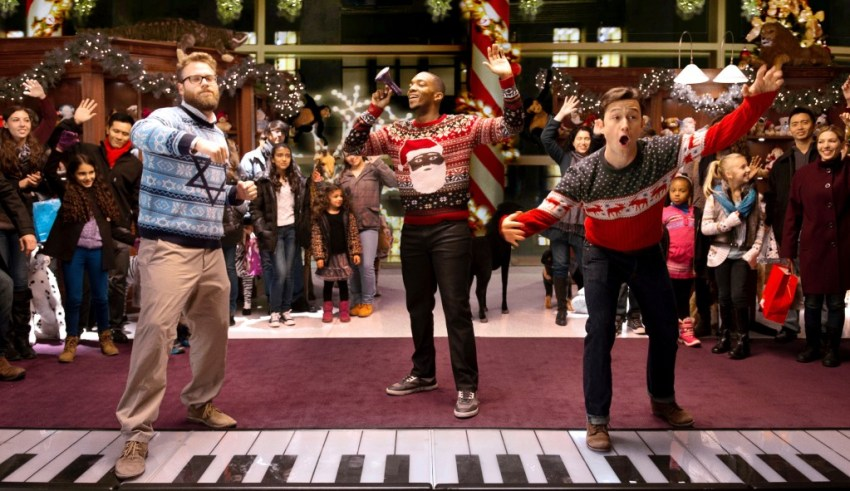(L-r) Seth Rogen, Anthony Mackie and Joseph Gordon-Levitt star in Comlumbia Pictures' THE NIGHT BEFORE