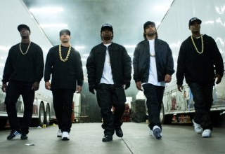 (L to R) MC Ren (ALDIS HODGE), DJ Yella (NEIL BROWN, JR.), Eazy-E (JASON MITCHELL), Ice Cube (O?SHEA JACKSON, JR.) and Dr. Dre (COREY HAWKINS) in ?Straight Outta Compton?.  Taking us back to where it all began, the film tells the true story of how these cultural rebels?armed only with their lyrics, swagger, bravado and raw talent?stood up to the authorities that meant to keep them down and formed the world?s most dangerous group, N.W.A.