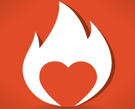 Flaming heart to signify passion