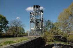 The Fire Watchtower in Marcus Garvey Park, prior to disassembly. Image credit: Parks Department