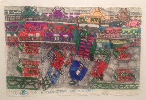 "Howard Schefflin, ""A View of Train Station and Street,"" ink on paper, 12"" x 18"" (18"" x 24"" framed), 2014"