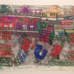 """Howard Schefflin, """"A View of Train Station and Street,"""" ink on paper, 12"""" x 18"""" (18"""" x 24"""" framed), 2014"""