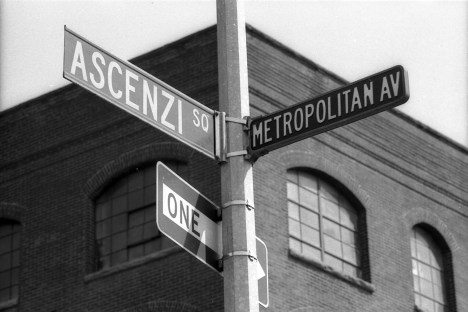 Ascenzi Square and Metropolitan Avenue Street Signs