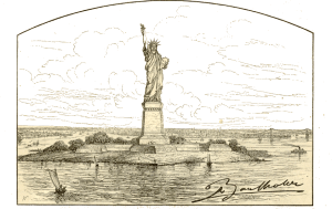 Bartholdi's design for the Statue as installed on Bedloe's Island. Published in the June 1887 edition of Scribner's Monthly.