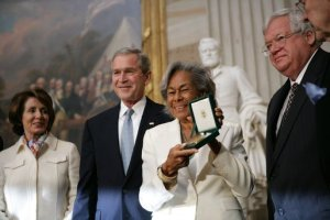Rachel Robinson accepting the Congressional Gold Medal on behalf of her husband. March 2005