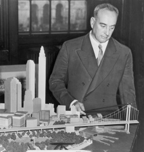 Moses with a Model of the never built Battery Bridge In 1939.