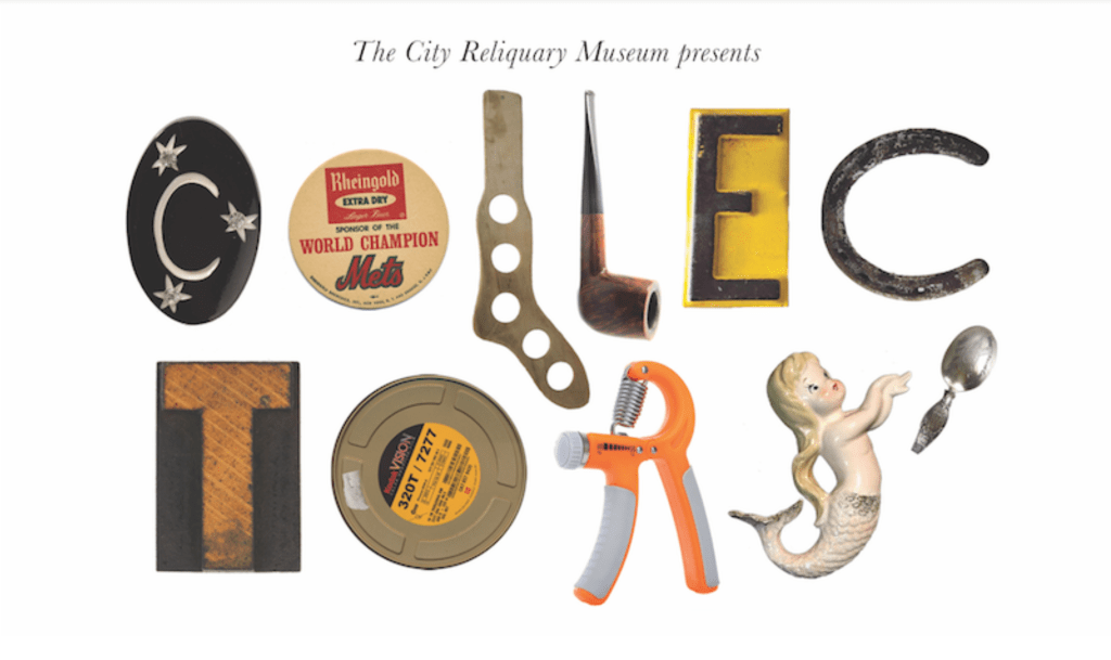 """Collectors"" spelled out using different vintage objects."