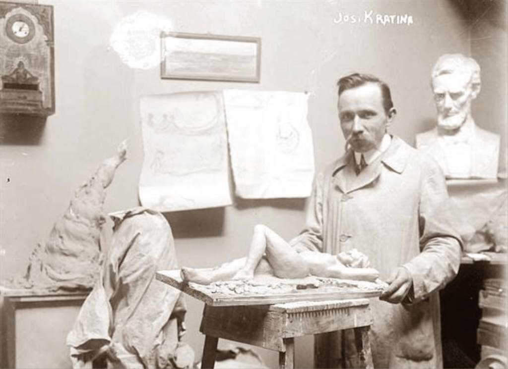 Sculptor Josef Kratina in his studio at 81 Prospect Place, Brooklyn