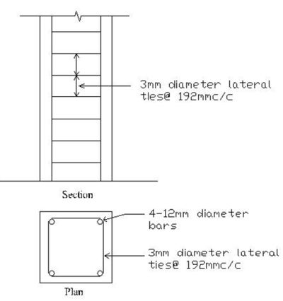 Reinforced Cement Concrete Column Plan and Section