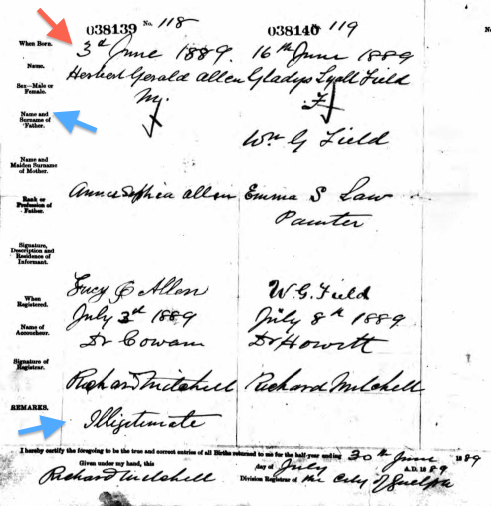 #52Ancestors: Scandal! My 2nd Great Grandmother's Illegitimate Son, Herbert Gerald Allen