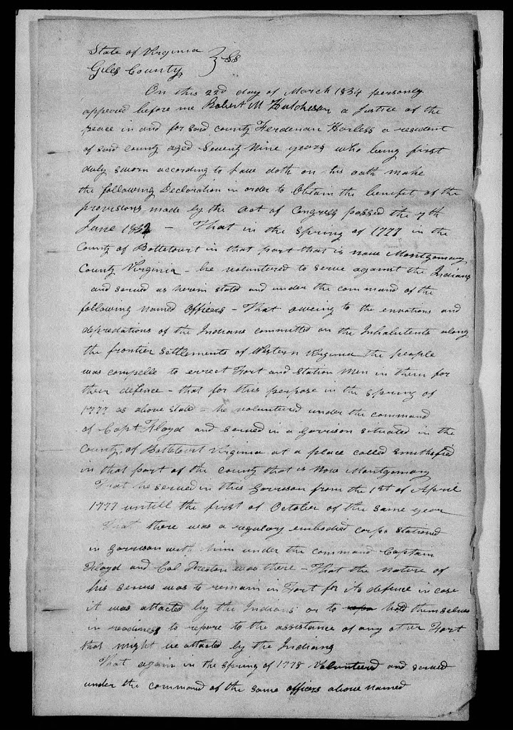 Harless Ferdinand Revolutionary War Pension Application