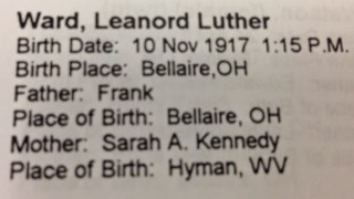 Leonard Luther Ward. Birth record transcribed from the Bellaire Health Department. Manuscript, Family History Library.