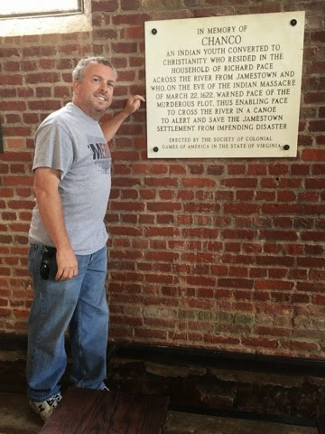 Jeff posing next to the plaque honoring Chanco and Jeff's 11th great grandfather Richard Pace.