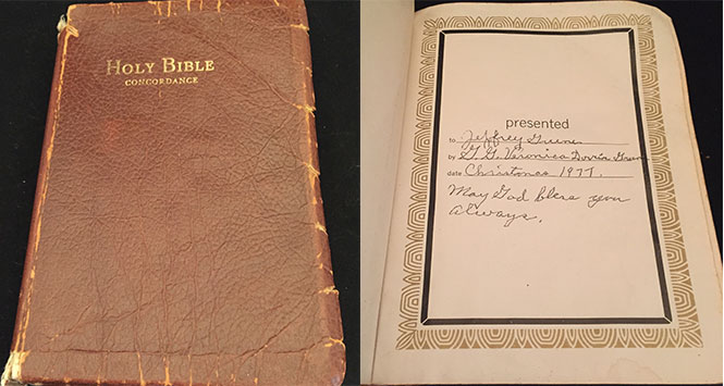Bible gift from Veronica Victoria Dorris