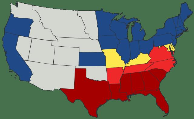 US Secession map 1861. Civil War.