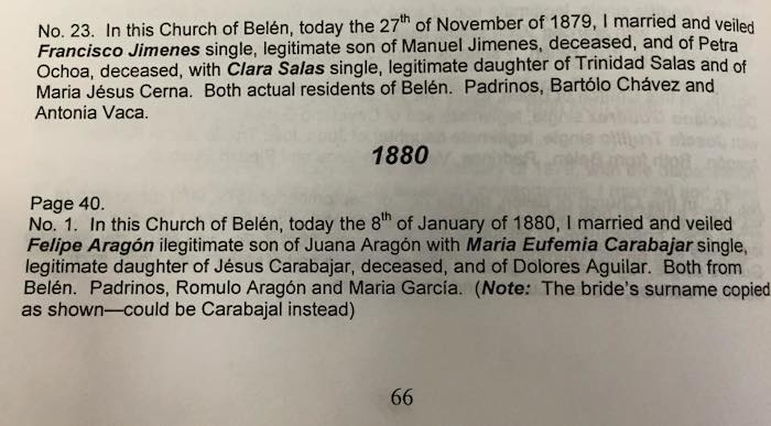 Jimenes Francisco - Salas Clara - marriage - 1879 - English
