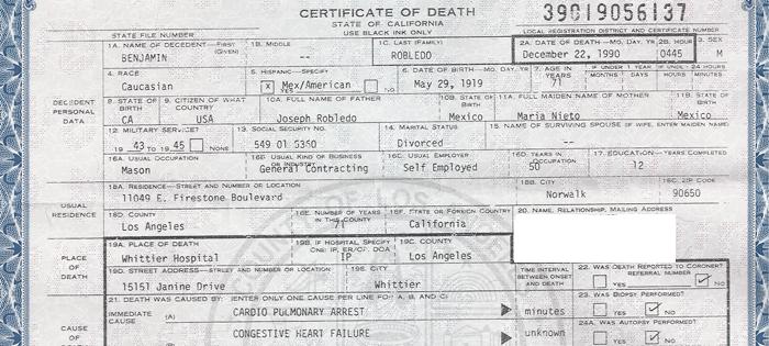 Benjamin Robledo, Death Certificate
