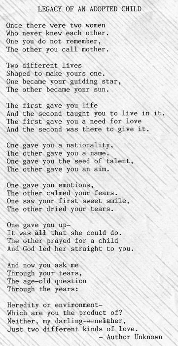 Adoption Poem from Dear Abby