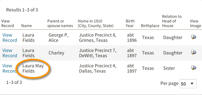 Laura Mae Fields 1910 US Census Search