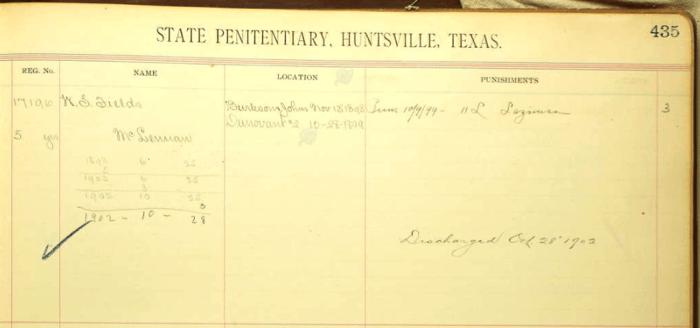 William Sanford Fields, Texas Convict Register