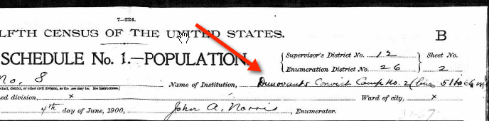 1900 US Census, Convict Camp 1