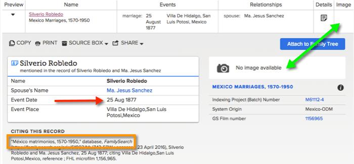 FamilySearch Index Entry for Silverio Robledo and Maria Jesus Sanchez Matrimonio