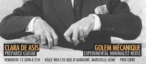 Banner for live concert at Asile 404, Marseille, June 2014 along with Golem Mécanique, june 2014.