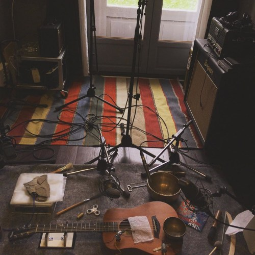 Setup for one of the pieces recorded at Lizières in Sept. 2017.