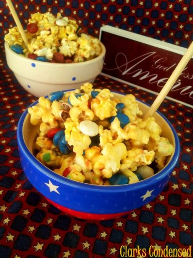 Red, White and Blue Popcorn with an added crackle (Pop Rocks) that is sure to put a nice spark in your Independence Day! #fourthofjuly #clarkscondensed