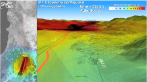 Scientific visualization showing the shaking produced by a magnitude 7.8 earthquake as it passes through the 2013 California Science Education Conference. Download your own copy at: http://earthquake.usgs.gov/regional/nca/   simulations/shakeout/