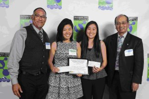 CEEF Board members Darryl Ramos-Young (far left) and Ray Ng (far right) present the CEEF Excellence in Environmental Education senior division award to Stacey S. Dojiri and Kelly Y. Woo at the 2014 California State Science Fair.  Photos courtesy of the California State Science Fair.