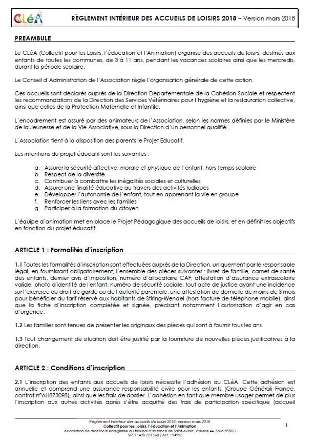 RÈGLEMENT INTÉRIEUR DES ACCUEILS DE LOISIRS 2018 – Version mars 2018