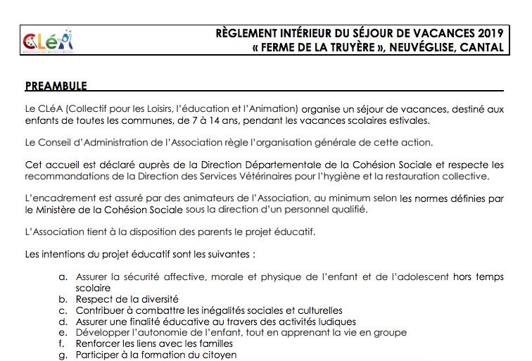RÈGLEMENT INTÉRIEUR DU SÉJOUR DE VACANCES 2019