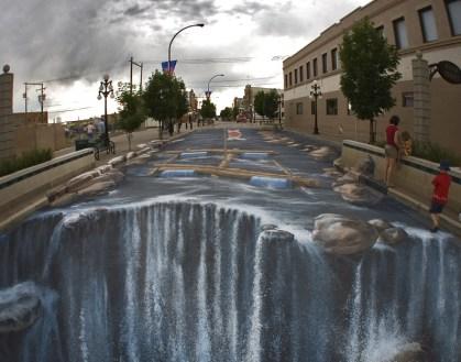 3D Chalk Art - Riverstreet River Waterfall - Edgar Mueller
