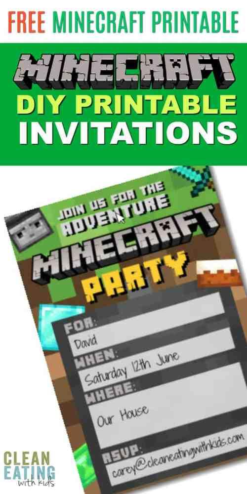 Medium Of Minecraft Birthday Invitations