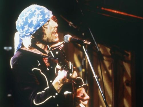 Bob Dylan performs during his Rolling Thunder tour in 1976.