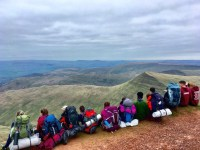 Taking in the view on Pen y Fan during the Gold DofE training expedition...