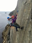 Learning some vital skills for sea-cliff climbing in Pembrokeshire