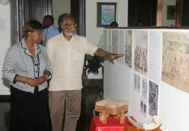 Herbie Miller giving a tour of the Jamaica Music Museum